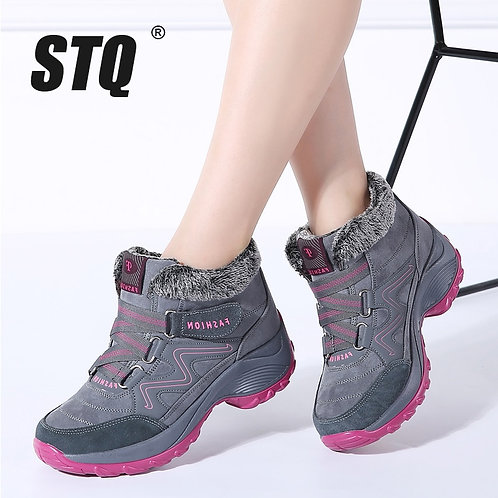 Women Warm Push Ankle / High Wedge Waterproof Boots Rubber Hiking Boots Shoes