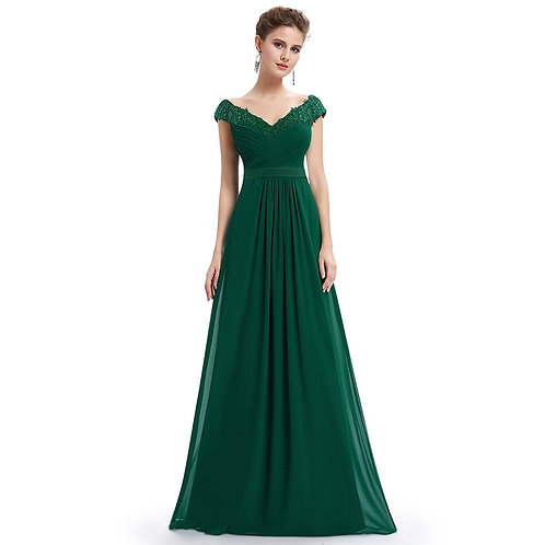 Robe De Soiree Elegant a Line v Neck Appliques Formal Evening Dress