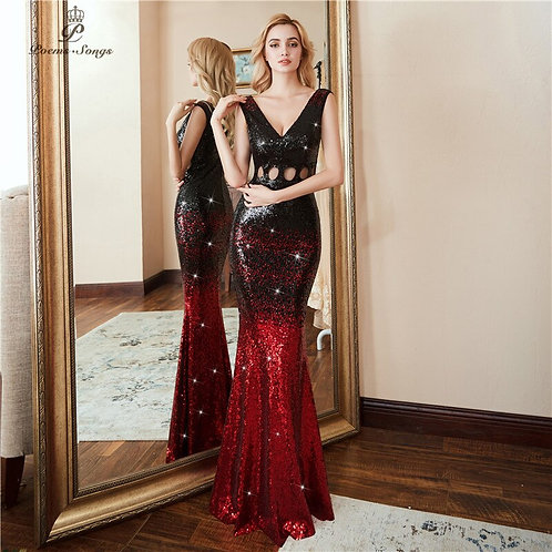 Poems Songs Hollow Evening Dress Prom Gowns  Red Black Long Sequin