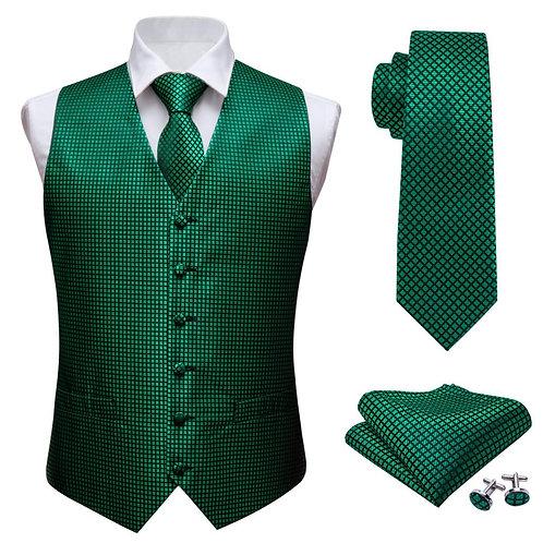 Mens Classic Green Solid Jacquard Folral Silk Waistcoat Vests Handkerchief