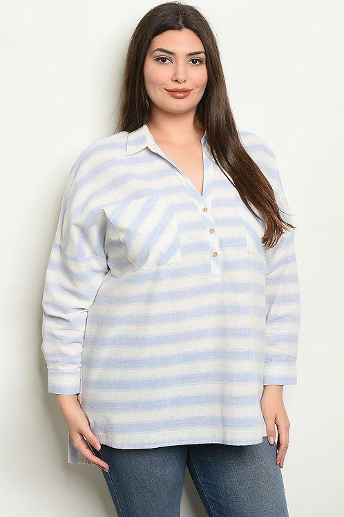 Blue Stripes Plus Size Top