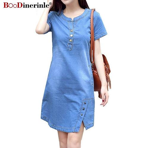 Korean Plus Size Denim Dress for Women Summer Dress