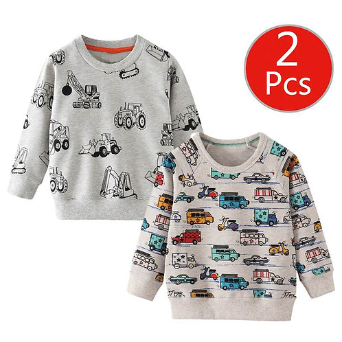 SAILEROAD 2pcs Sweatshirt for Kids Cartoon Vehicle Car Warm Sweatshirt