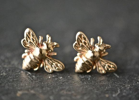 Gold HoneyBee Stud Earrings