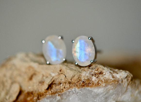 Oval Moonstone Stud Earrings