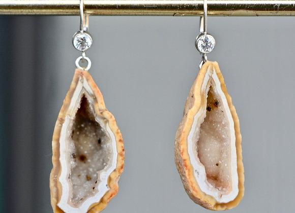 Natural Beige Sterling Silver Geode Earrings