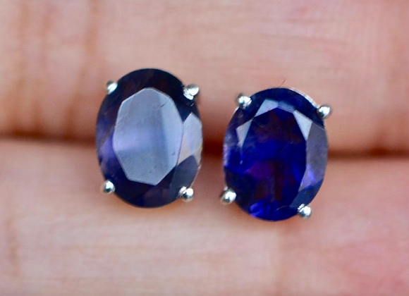 Oval Iolite Stud Earrings