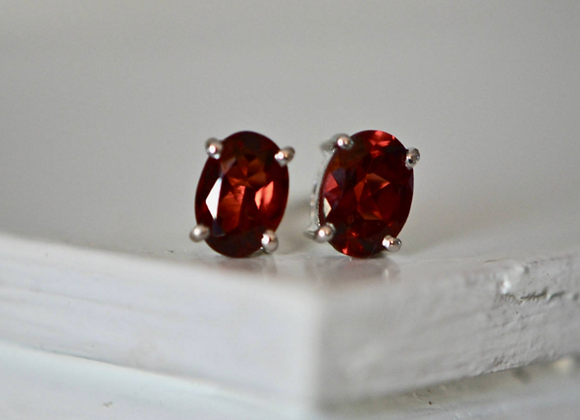 Oval Garnet Stud Earrings
