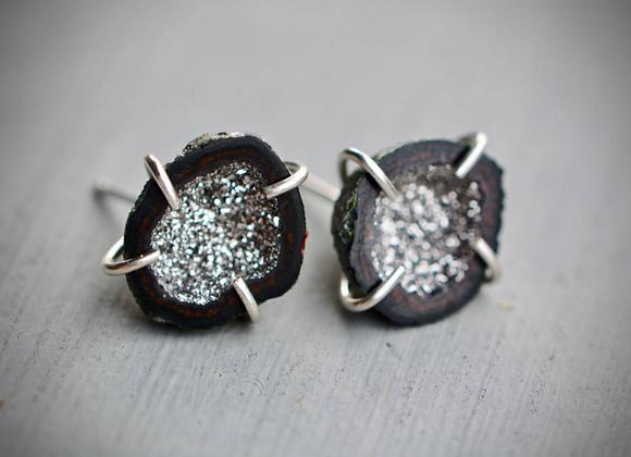 Platinum Silver Geode Stud Earrings