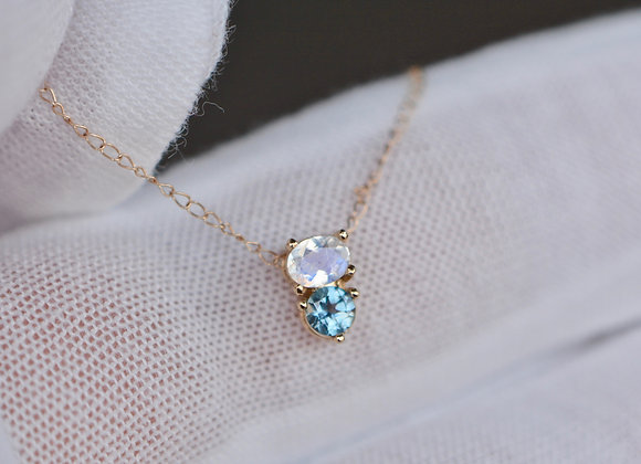 Teal Montana Sapphire™ & Rainbow Moonstone 14k Gold Dainty Necklace