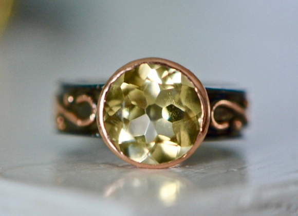 Rose Gold Oxidized Sterling Silver Citrine Ring Size 7