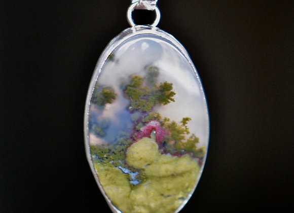 Indonesian Moss Agate & Ruby Drop Sterling Silver Necklace