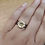 Thumbnail: Rose Gold Oxidized Sterling Silver Citrine Ring Size 7