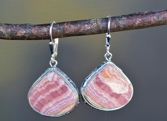 Rhodocrosite Dangly Earrings Sterling Silver