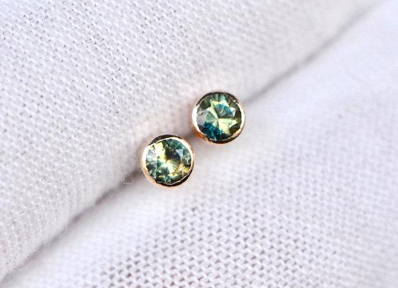 Parti Sapphire Stud Earrings 14kt Gold