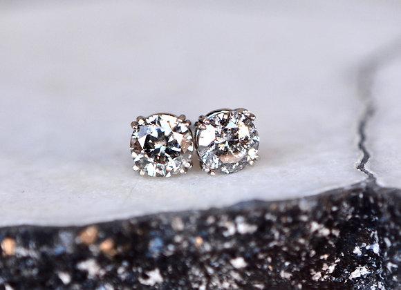 Salt Pepper Double Prong 14k White Gold Stud Earrings