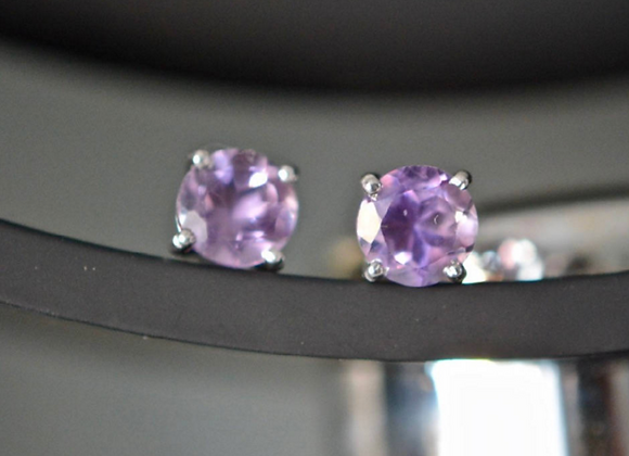 Small Round Amethyst Stud Earrings