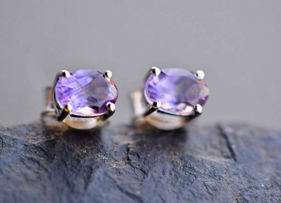 Small Oval Amethyst Stud Earrings