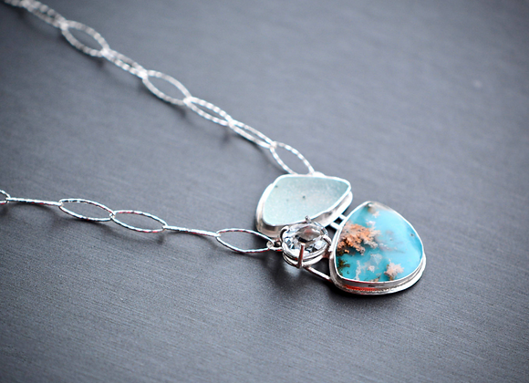 Statement Sterling Silver Necklace with Topaz, Druzy and a Plume Agate Doublet