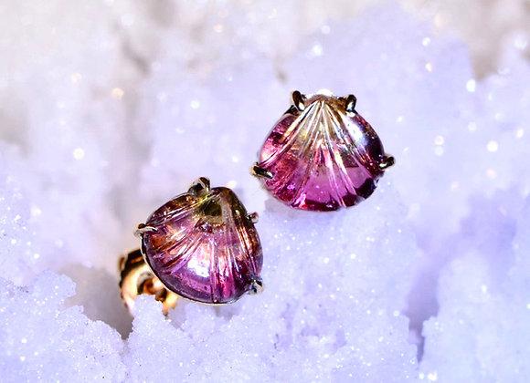 Tourmaline Gold Stud Earrings