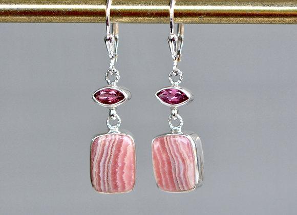 Rhodocrosite & Pink Tourmaline Earrings Sterling Silver