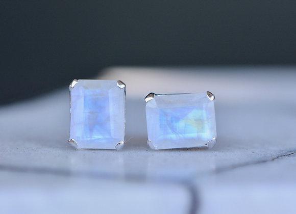 Rectangular Moonstone Stud Earrings
