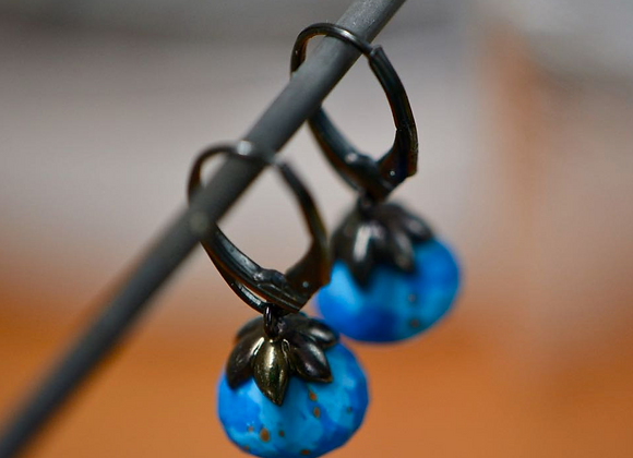 Turquoise Oxidized Silver Drop Earrings