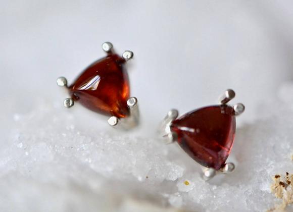 Triangle Garnet Stud Earrings