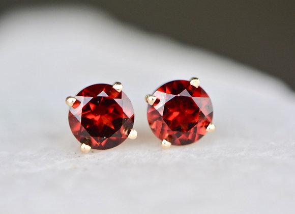 January Birthstone Earrings, AA Mozambique Garnet 14k Gold Stud Earrings