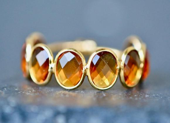 18kt Gold Citrine Adjustable Ring