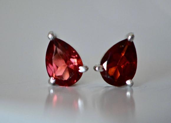 Teardrop Garnet Stud Earrings