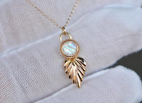 Rainbow Moonstone 14k Gold Leaf Necklace