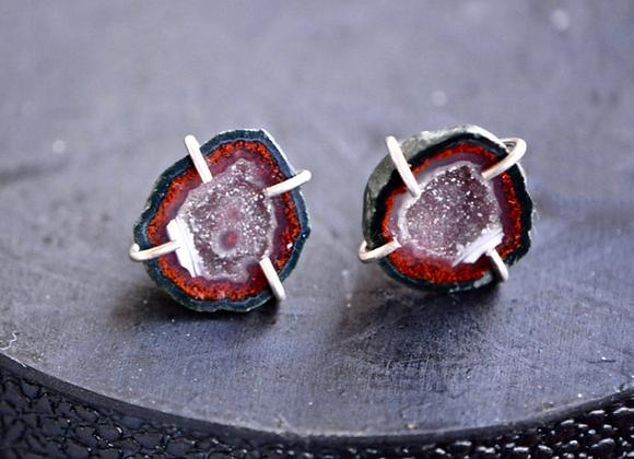 Red Sterling Silver Geode Stud Earrings