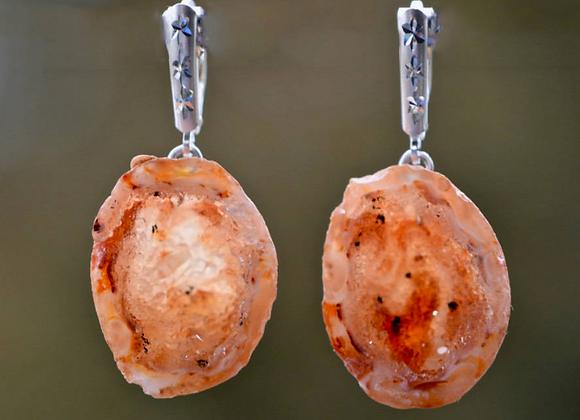 Natural Orange Sterling Silver Geode Earrings