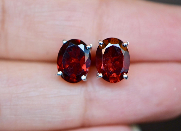Large Oval Garnet Stud Earrings