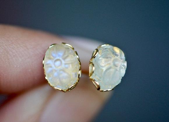 Carved Moonstone Stud Earrings