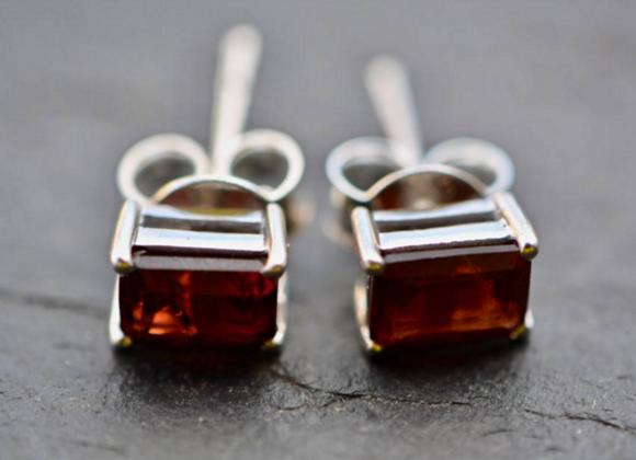 Rectangle Garnet Stud Earrings
