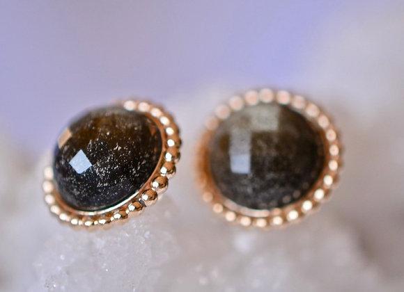 Golden Obsidian Gold Filled Stud Earrings