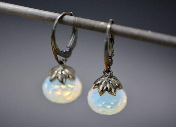 Opal Oxidized Silver Drop Earrings