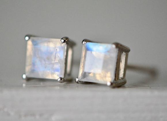 Square Moonstone Stud Earrings