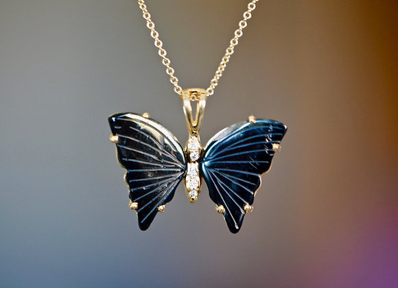 Tourmaline Butterfly Gold Necklace