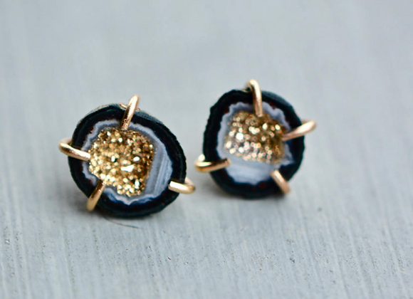14k Gold Geode Stud Earrings