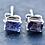 Thumbnail: Rectangle Emerald cut Iolite Stud Earrings