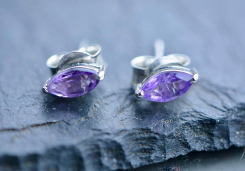 amethyst quality com genuine natural in gold stud earrings white amethysts aaa amazon dp