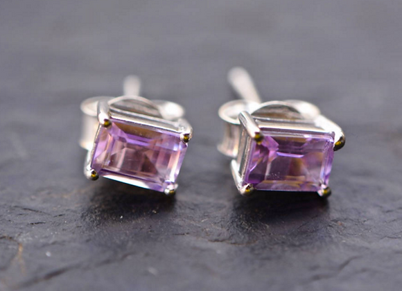 Rectangle Amethyst Stud Earrings