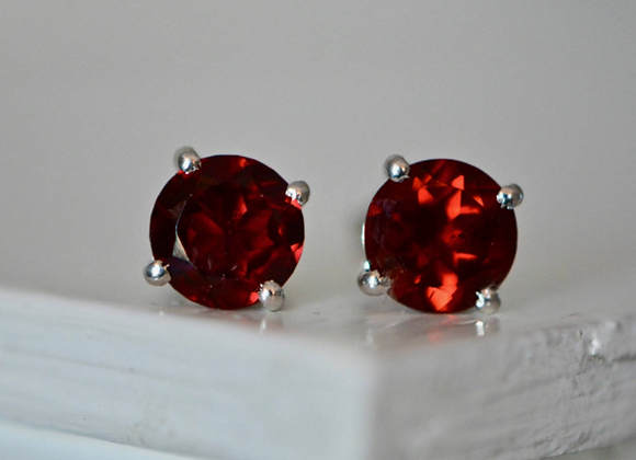 Medium Round Garnet Stud Earrings