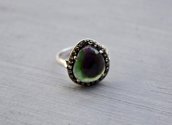 Sterling Silver Sapphire Ring with Diamonds