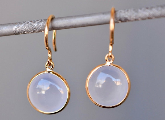 18k Gold Chalcedony Earrings