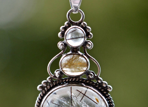 Black and Golden Rutilated Quartz Sterling Silver Necklace