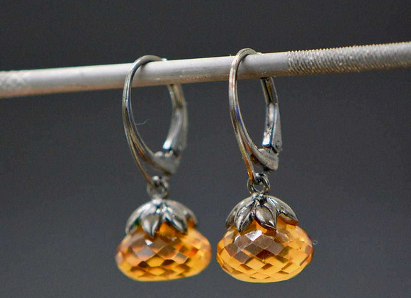 Citrine Oxidized Silver Drop Earrings